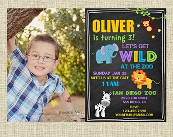 Jungle Chalkboard Invitation - Elephant Lion Zebra Monkey Party Invitation - Birthday Party Invite - Digital Personalized Customized
