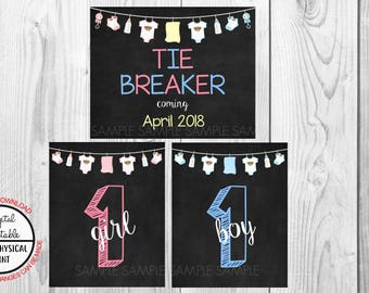 Tie Breaker Pregnancy Announcement Sign, Pregnancy Reveal, Printable, Pink or Blue, Instant Download, Chalkboard Sign, due April 2018