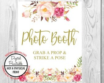 Vintage Gold Floral Boho Photo Booth Sign, Grab A Prop, Flower Boho Wedding Sign, Printable, Bridal Shower Sign, Baby Shower Sign, Birthday