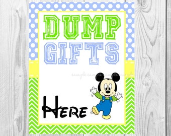 "Dump Gifts Here Sign, Baby Mickey Mouse Birthday Party Sign, 8""x10"" Printable, Instant Download"