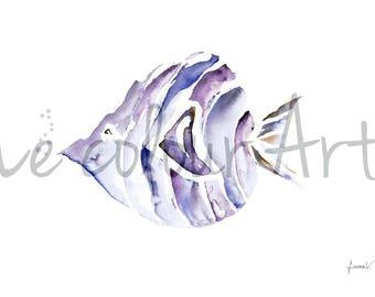 Watercolour The swim, under the sea, underwater, minimalist art, digital art, Modern decor, Watercolour fish, Acuarela, Bubbles