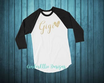 New Grandma Raglan; Gigi Raglan; Gigi Est Raglan; Personalized Grandma Raglan; Personalized Grandma Shirt