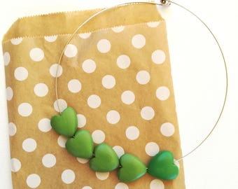 Crew neckline with green hearts