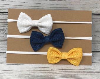 Bow set, burlap bow set, mini bow set, nylon headbands, baby headbands, baby girl headbands