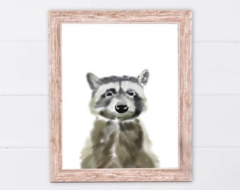 Raccoon print | Woodland animals | PRINTABLE Art | Nursery decor | Animal art | Baby animals | Nursery wall art | Raccoon Wall Art