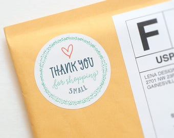 Thank You For Shopping Small Sticker - Packaging Stickers - Thank You Stickers - Business Stickers - Product Packaging Labels - Shop Small