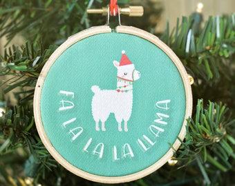 Fa La La La Llama Ornament - Llama Christmas Ornament - Llama Hoop Ornament - Christmas Llama - Llama Gifts - Cute Christmas Ornaments