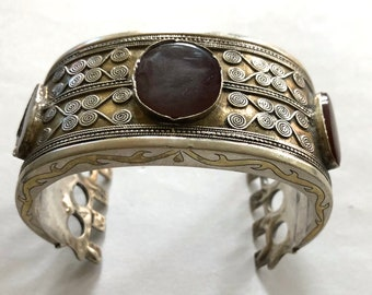 Antique Tekke Turkoman Tribal Silver & Carnelian Cuff Bangle Bilezik Bracelet