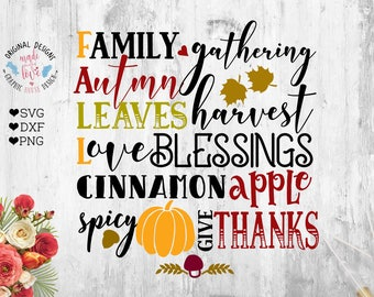 Autumn Fall SVG Blessings svg Give Thanks SVG Pumpkin SVG Thanksgivings Cut File Cinnamon Apple Spicy Pumpkin Family Gathering Harvest svg