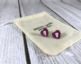 Pink Sparkle Heart Acrylic Monogram Earrings