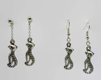 Earrings - silver - sitting cat 4.5 cm