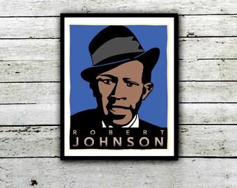 Robert Johnson, Crossroads Blues, Blues Legend Poster, Mississippi Blue, Music posters, Delta Blues, Man Cave, Blues Poster, Music Art