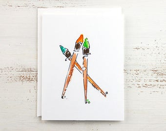 Paint Brushes Note Card