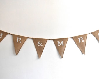 Rustic Burlap/Hessian 'Mr + Mrs' Wedding Bunting