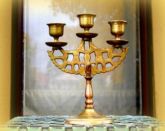 Vintage Brass Triple Candlestick Candelabra Three Candle Standing Holder 1960's Boho Centerpiece Lighting