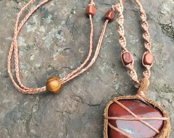 SALE!! Leather bound tribal red jasper crystal necklace. Bohemian/ hippy/gypsy