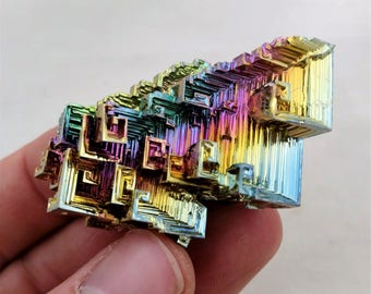 Rainbow Bismuth Crystal 48g Lab Grown Jewelry Display Specimen Educational Metaphysical Metal Healing Stone