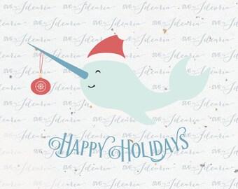 Narwhal Christmas Svg, Svg Santa hat svg svg Santa christmas svg svg christmas svg christmas svg file design silhouette cricut svg svg files