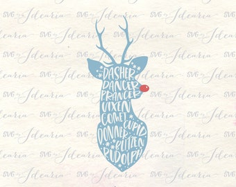 Dasher dancer prancer vixen comet cupid donner blitzen and rudolph svg reindeer svg christmas svg reindeer head svg silhouette cricut