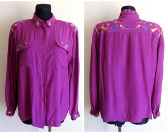 Vintage Purple Embellished Blouse Fashion 80s 90s Women's Blouse Long Sleeve Geometric Embellished Clothing Purple Shirt  L Size