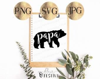 Papa Bear SVG, PNG, JPG, Downloadable Cut File, Cricut, Silhouette, Cutting Machine, Papa Bear, Digital File, Bear Vector, Daddy svg
