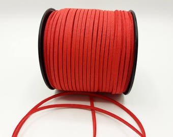 3 m - 3 mm * 1.4 mm - red coral suede A184