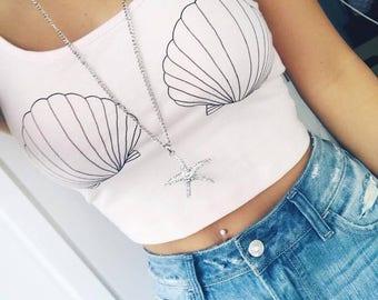 Silver Crystal Starfish Ariel Mermaid Necklace