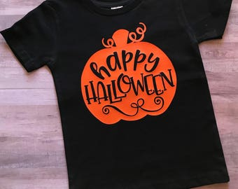 FREE SHIPPING / Halloween shirt / Happy Halloween / pumpkin / fall / tshirt