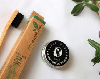 Set: CHARCOAL TOOTHPASTE + Eco TOOBRUSH  / Organic Vegan  / [5 star reviews ] Teeth Whitening Activated Charcoal / Handcrafted in Australia