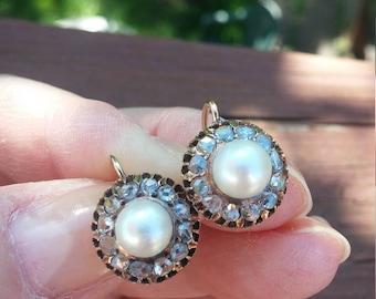 Georgian Rose Cut Diamond Pearl Earrings
