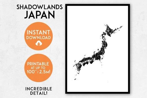 Shadowlands Japan Map Print Printable Japan Map Art Japan - Japan map printable