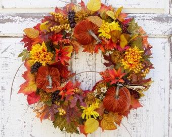 Autumn Wreath, Pumpkin Wreath, Fall Wreath, Wreaths, Door Wreath, Natural Wreath, Front Door Wreath