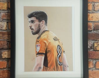 Hand Drawn Wolverhampton Wanders Ruben Neves Framed Print