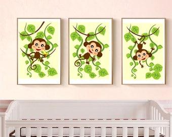 Set of 3 printable wall art set Digital Prints monkeys nursery decor