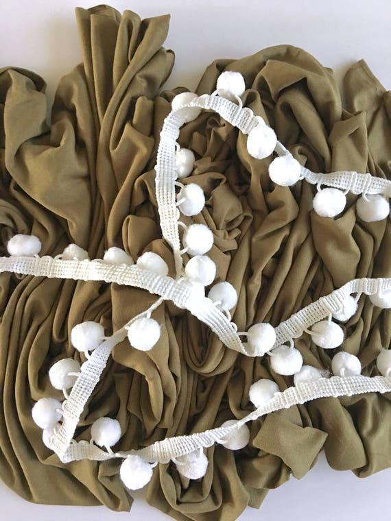 Light Olive Pom Swaddle Blanket