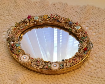 Vintage Jeweled One of a Kind Handmade Decorative Mirror