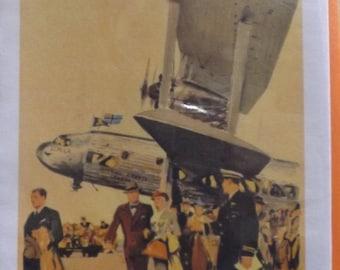 Imperial Airways Vintage Travel Poster. Blank Handmade Greetings Card. Artisan,