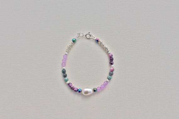 Bracelet gemstones wedding: Lavender Jade, pink kiwi Jasper, jade candy, rainbow hematite and Sterling Silver 925