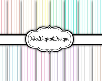 Buy 2 Get 1 Free-16 Digital Papers.  Pinstripes 2 in Pastel Colours (2C no 3) for Personal Use and Small Commercial Use Scrapbooking