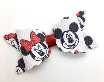 Mickey and Minnie Mouse Bow Handmade Leather Bow, Faux Leather  Bow, Baby Hair Bow, Headband Bow.