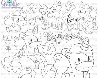 75%OFF - Unicorn Stamp, COMMERCIAL USE, Digi Stamp, Digital Image, Party Digistamp, Unicorn Coloring Page, Unicorn Clipart, Unicorn Graphics