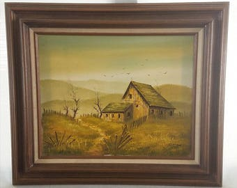 Vintage Oil Painting on Canvas Barn Scene with Mountain views Framed Art