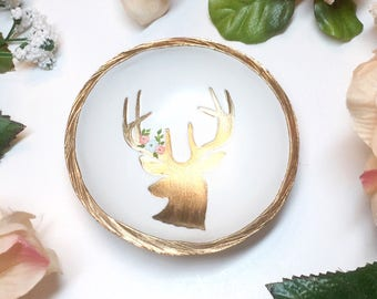 Deer Jewelry Dish / Spirit Animal / Peace / Compassion / Personalized Jewelry Dish / Personalized Ring Dish / Gift for Her / Bridesmaid Gift