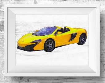 McLaren 570s Printable Poster Art in Yellow,  Car Illustration, Design Car Print,  printable Car Art, Art Print McLaren, Car Digital Print