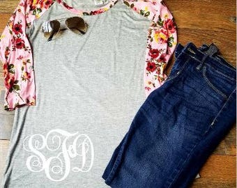 Womans Monogram Shirt - Womans Floral Sleeve Baseball Shirt - Womans Clothing - Monogram Shirt - Floral Sleeve Raglan