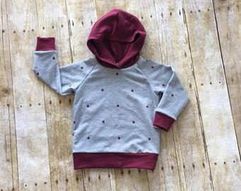 Polka dot sweatshirt // baby sweatshirt // baby hoodie // toddler sweatshirt // toddler hoodie // polka dot hoodie