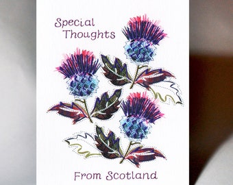 Scottish Greeting Special Thoughts Thistle Card WWGR18