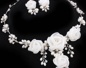 Bridal Organza Flower Freshwater Pearl, CZ Stainless Steel Necklace Set