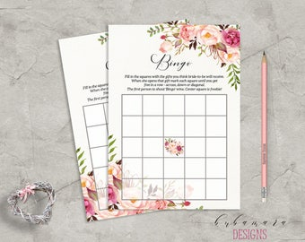 Floral Bingo Bridal Shower Game Digital Download Game Bridal Trivia Pink Peonies Printable Flowers Bohemian Bridal Shower Quiz - BG014