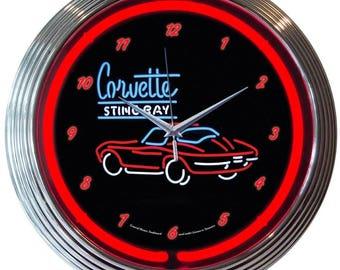"Antique Style "" Chevrolet Corvette C2 "" Neon Clock"